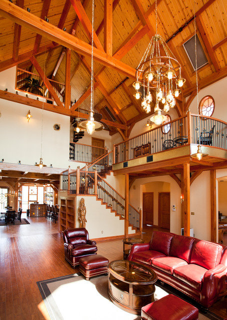 Nautical Themed Timber Frame Home Rustic Living Room