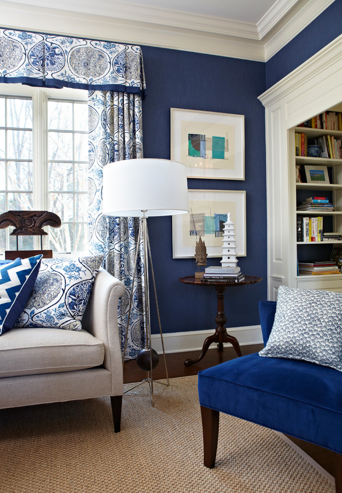 Living room - mid-sized transitional enclosed dark wood floor living room idea in New York with blue walls and no tv