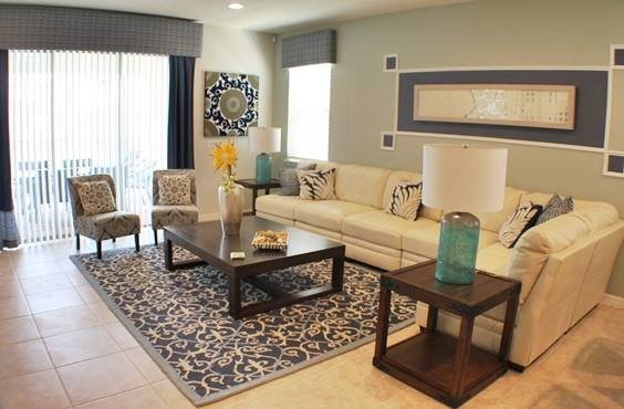Navy Blue And Cream Living Area