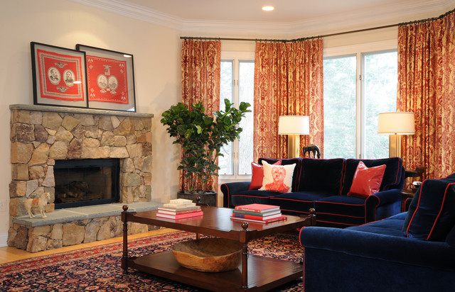 exciting red blue living room ideas | Navy Blue and Red Family Room with Oriental Carpet ...