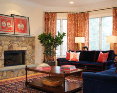 Navy blue and red living room traditional living room