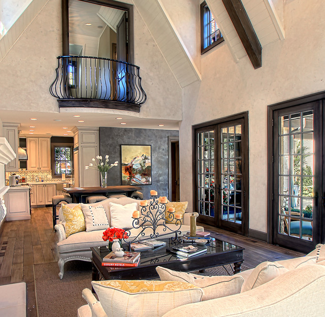 Example of a large classic open concept and formal medium tone wood floor living  room design. Living Room Balcony   Houzz