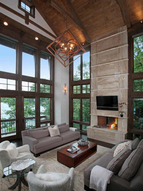 Necowa Lodge - Rustic - Living Room - Atlanta - by Modern Rustic Homes