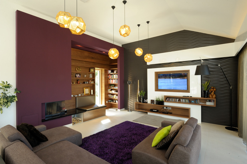 Trendy living room photo in Other with purple walls, a corner fireplace and a media wall