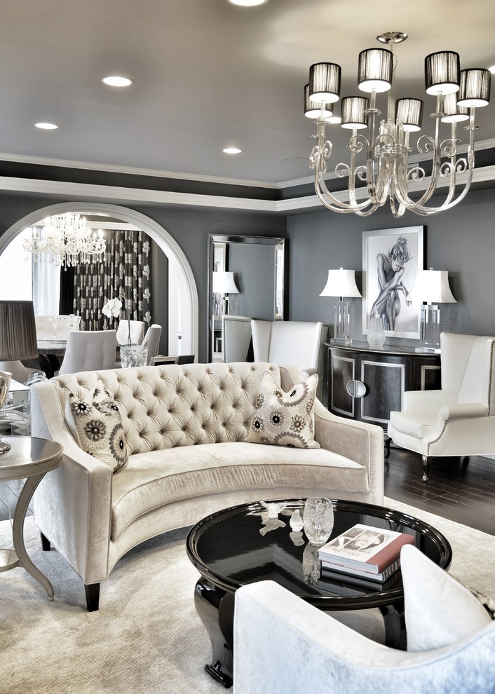 Inspiration for a small transitional formal dark wood floor living room remodel in Los Angeles with gray walls and no tv