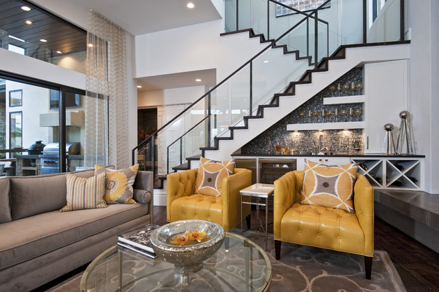 Neo-Prairie Style Parade Home transitional-living-room