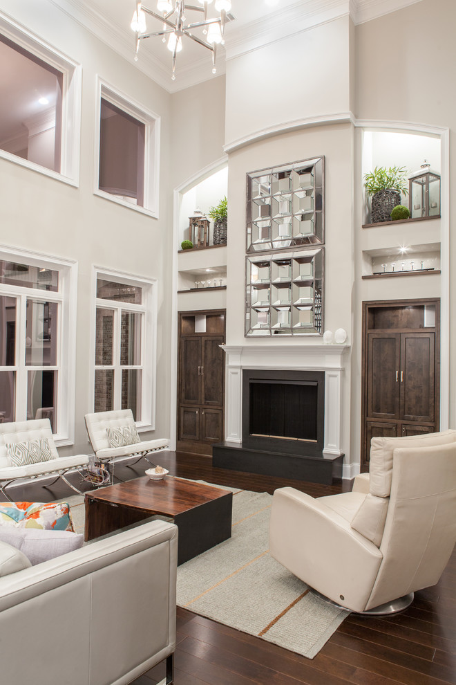 Example of a transitional living room design in Atlanta with gray walls