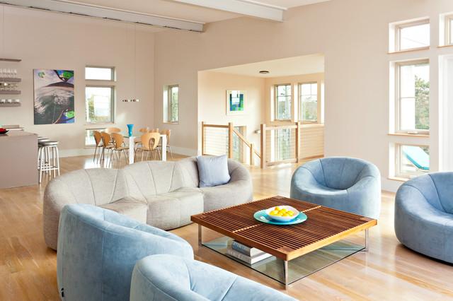 Net Zero House near Nantucket Sound modern-living-room