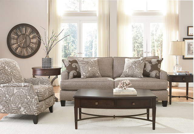 Neutral And Paisley Living Roomtransitional Room Houston