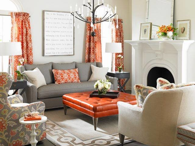 orange accessories for living room. Neutral Decor with Pops of Orange  transitional living room Transitional Living Room