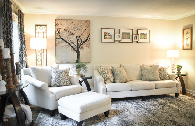 neutral gray light colored living room