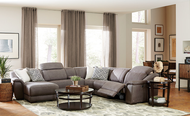 Neutral great room with 6 pc vegara pewter sectional for 6 pc sectional living room