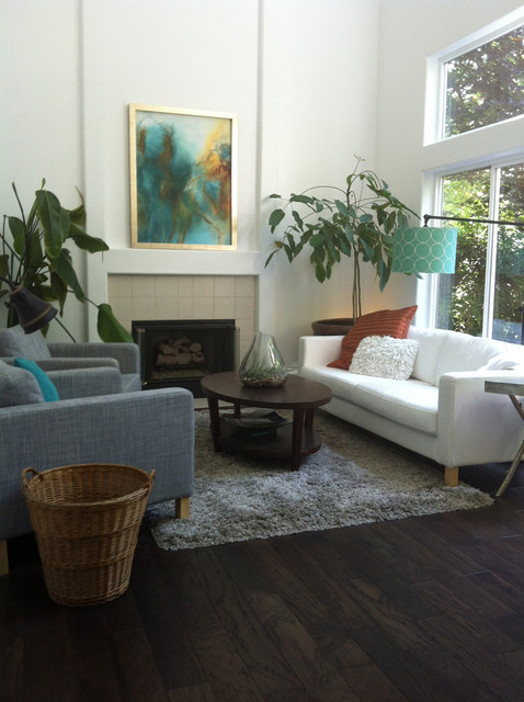 neutral living room with color pops transitional