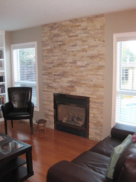Stacked Stone Fireplaces neutral stacked stone fireplace