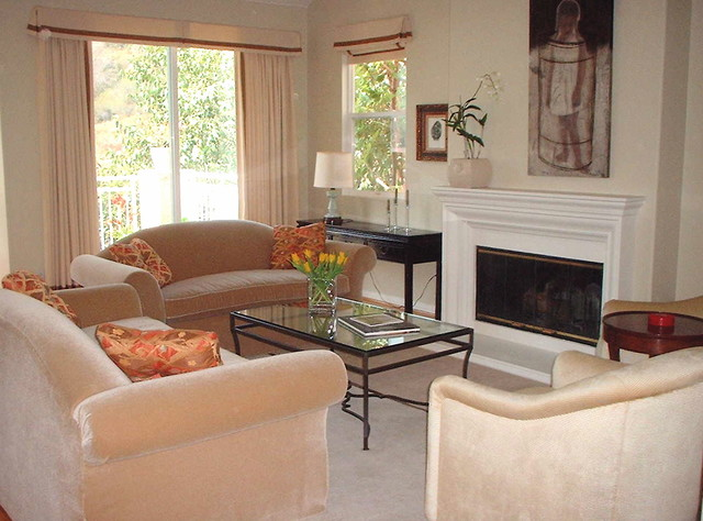 neutral tones in a living room contemporary-living-room