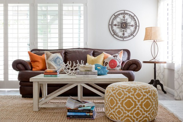 Neutral with pop of color coastal living room los for Neutral decor with pops of color