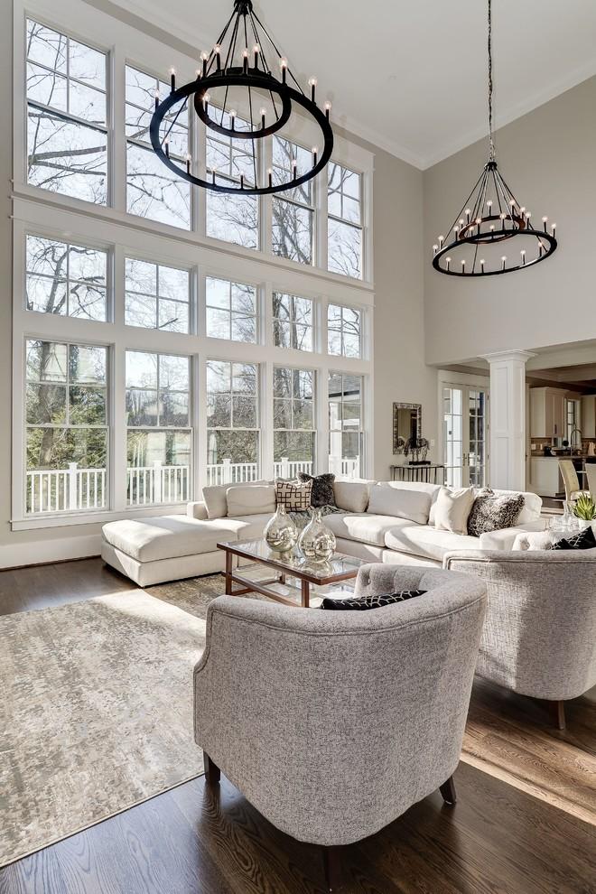Living room - traditional open concept dark wood floor and brown floor living room idea in DC Metro with gray walls