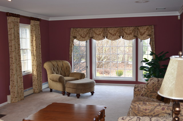 New bay window treatment traditional living room new Window treatments for bay window in living room