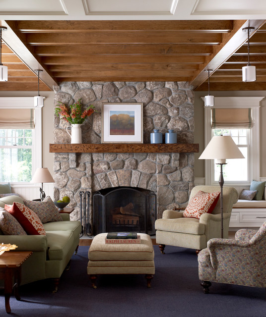 New Canaan Shingle Style Traditional Living Room New