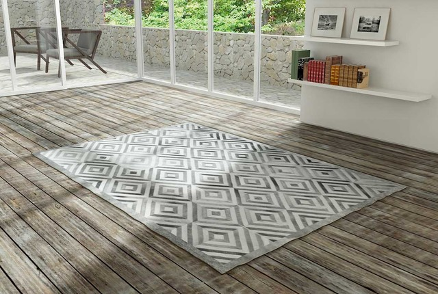 Modern Living Room Rugs new design - gray diamond patchwork cowhide rug - modern - living