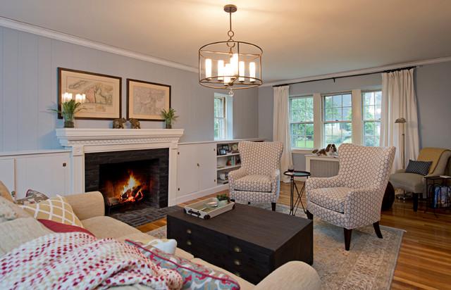 Transitional Living Room With Coastal Vibe And Blue: New England Coastal Living Room