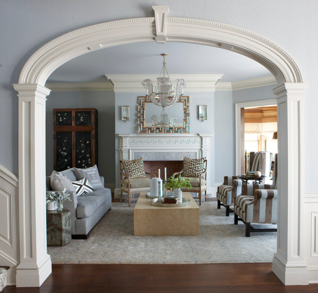 New England Colonial Revival Traditional Living Room