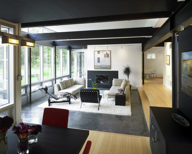 New England Contemporary Living Room & Dining Room contemporary-living-room