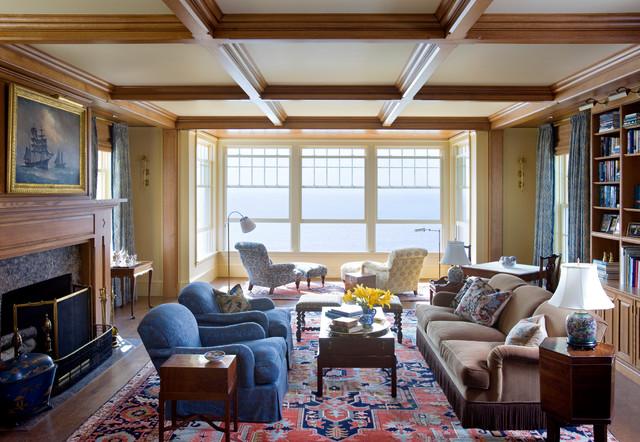 amusing new england contemporary living room   New England Ocean View - Traditional - Living Room ...