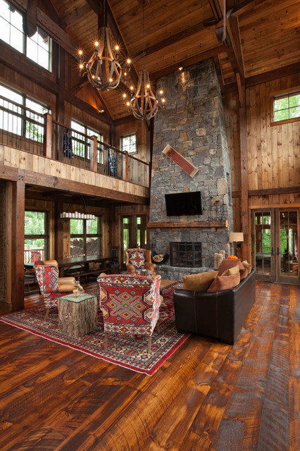 New England Resort Home Rustic Living Room Other