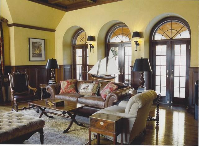 New England Shingle Style Traditional Living Room