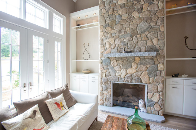 New england style design fireplace chimney columns and for New england style living room