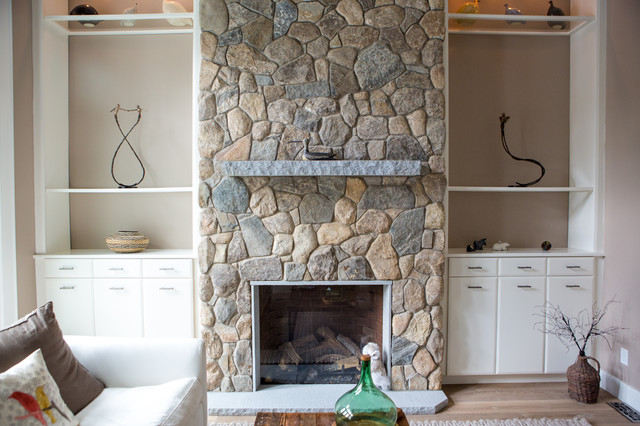 New England Style Design: Fireplace, Chimney, Columns, and ...