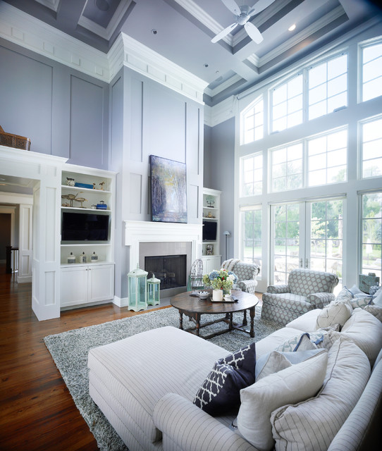 Inspiration For A Transitional Living Room Remodel In Salt Lake City With Blue Walls