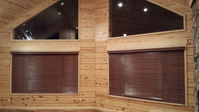 New log cabin craftsman living room minneapolis by for Log cabin window treatments