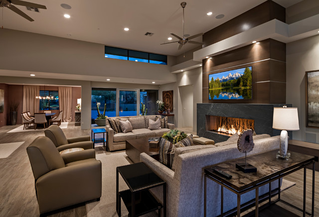 New Luxury Home Shoots Transitional Living Room