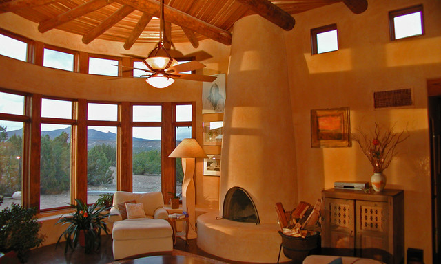 New Mexico Straw Bale Southwestern Living Room