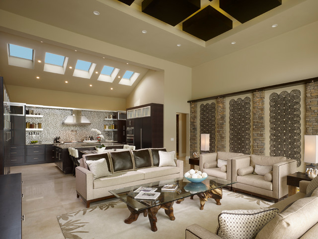 Example of a trendy formal and open concept living room design in Orlando with beige walls