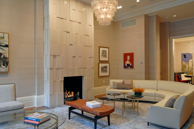 New york city brownstone contemporary living room for Brownstone living room decorating ideas