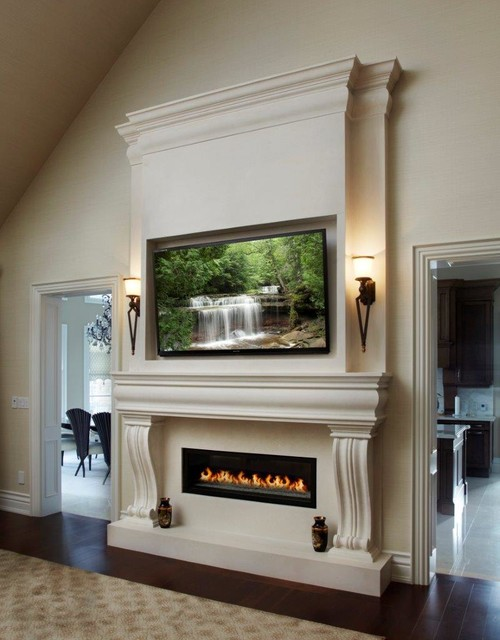Linear fireplace mantel in toronto transitional living for Linear fireplace ideas