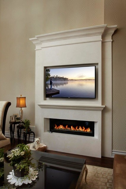 linear fireplace mantel in new york modern living room