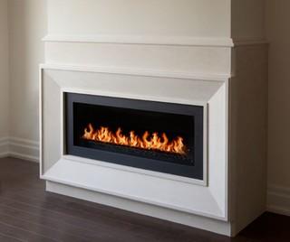 New York Linear Fireplace Mantel Modern Living Room