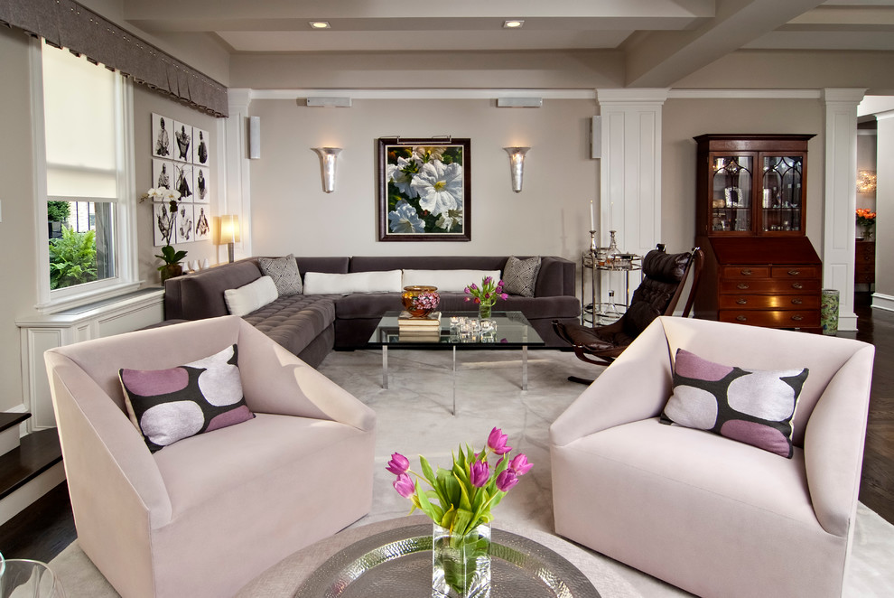 Example of a trendy living room design in New York with gray walls
