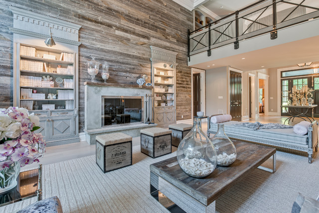New york reclaimed wood feature wall beach style - Feature wall living room ...