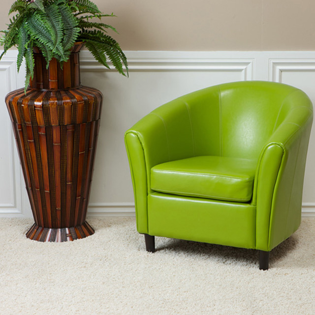 Newport Lime Green Leather Club Chair Contemporary Living Room Los Ange