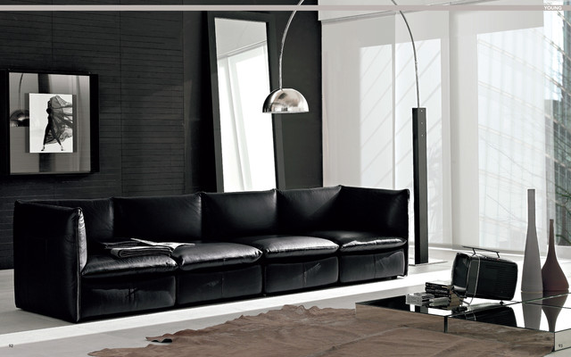 Nicoline contemporary leather furniture at castle furniture contemporary living room for Modern living room furniture houston tx