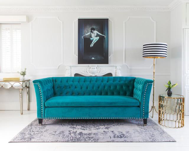 Nightingale Teal Blue Velvet Sofa transitional-living-room