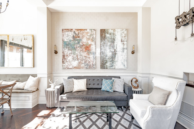 Example of a transitional open concept medium tone wood floor living room design in Toronto with white walls