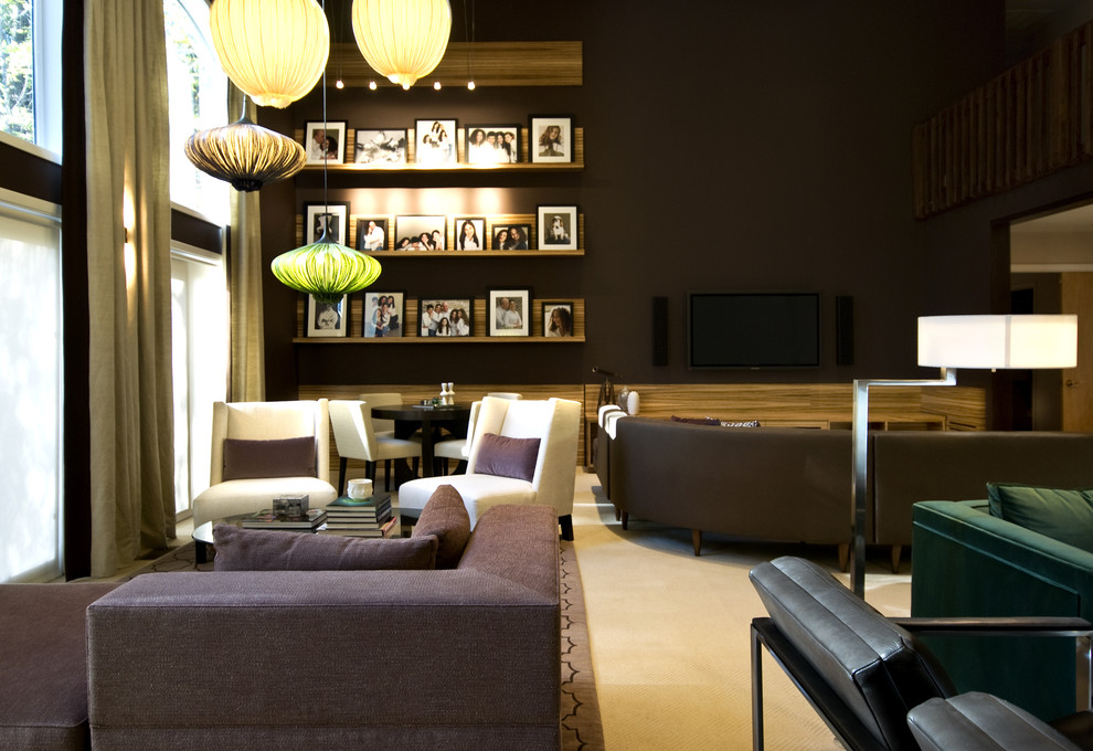 Inspiration for a contemporary living room remodel in New York with brown walls