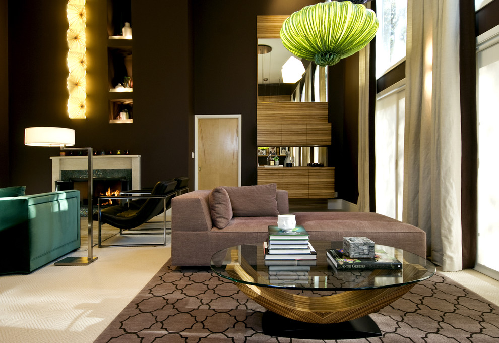 Example of a huge trendy living room design in New York with black walls