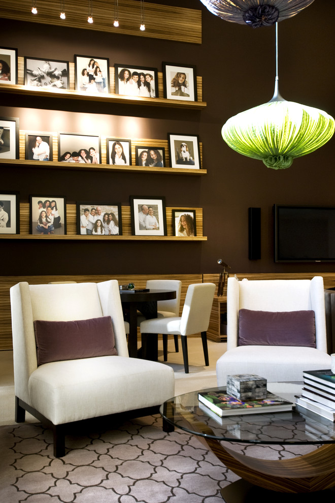 Trendy living room photo in New York with brown walls